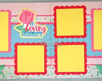 Premade Scrapbook Page Layout Paper Piece Die Cuts 12x12 In Loving Memory Handmade 16