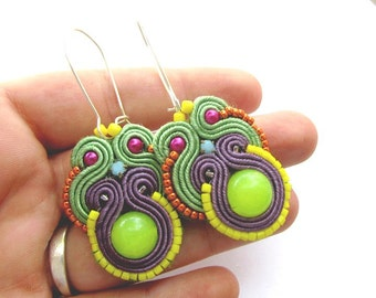 Soutache Earrings Colorful with Beads Gems Soutache Braid Glamour and Shiny Style Gift Toho Handmade Jewelry Colorful