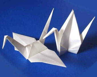 100 Large Origami Cranes Origami Paper Cranes Origami Crane - Made of 15cm 6 inches Japanese Paper - White