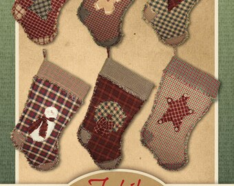 Ragged Christmas Stocking Pattern - DIGITAL DOWNLOAD - from Jubilee Fabric