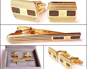 Vintage Christian Dior Monsieur Cufflinks & Tie Bar Set Gold Plated Dior-Motif Boxed Mens Suit Accessory
