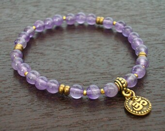 Women's Amethyst Shakti Mala Bracelet - Amethyst & Gold Om Mala Bracelet - Yoga, Buddhist, Meditation, Prayer Beads, Jewelry