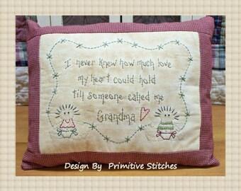 Someone Called Me Grandma--Primitive Stitchery E-PATTERN-by Primitive Stitches-Instant Download