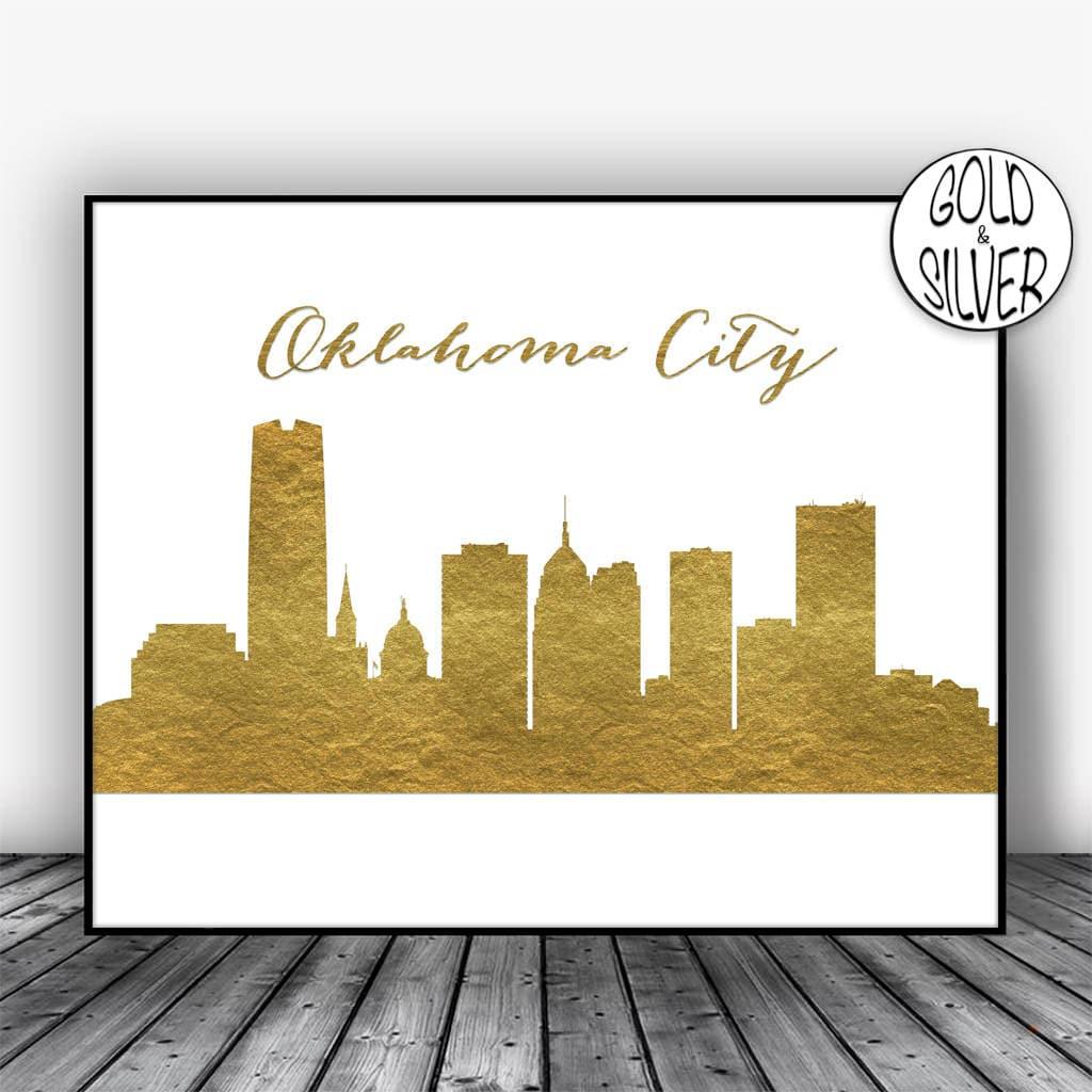 Oklahoma City Skyline Oklahoma Wall Art City Art Print Lincoln