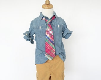 Hot Pink, Blue and Green Plaid Necktie for Boys