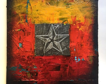 12 x 12 NorCal Nautical Star Abstract Art Acrylic Painting on wood board Ready to hang Contemporary Mixed Media Modern Paint Wall Original