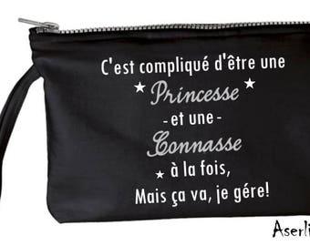 Black - gray zip - pouch is complicated to be a Princess and a bitch