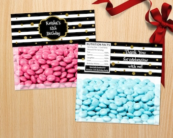 Personalized Black and White Stripes Bag Topper Ziploc Toppers Gold Dots Gold Accent Adult Teen Birthday Party Printable DIY - Digital File