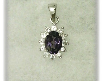 8x6mm Lab Created Alexandrite Gemstone with 2mm White Cubic Zirconia Accents in 925 Sterling Silver Pendant Necklace June Birthstone