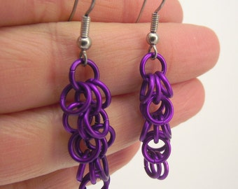 Purple Chainmaille Earrings, Aluminum Earrings, Purple Earrings, Chainmail Jewelry, Gift under 20