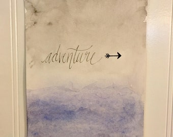 "9 X 6, Watercolor ""Adventure"" Minimalist Decor"