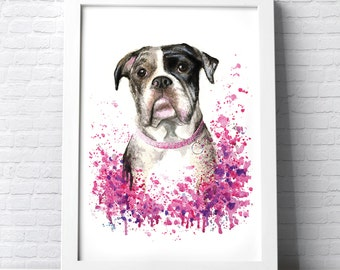 Personalised Pet portrait colourful illustration made with watercolours and pastels custom painting