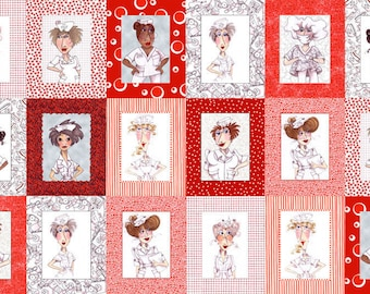 Nifty Nurses Red by Coralie Cotton Quilting Fabric Panel