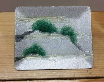 Japaneses Enamel Dish or Tray Pearlescent Finish on a Bonsai Design