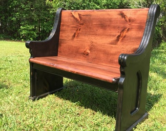 "48"" Two-Toned Stained Wooden Church Pew.  48""x36""x20.5"""