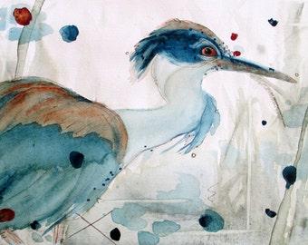 Watercolor Heron Print,  Bird Art Print, Wildlife, Nature, Wetlands, Bird Illustration, 8 x 10 Bird Art