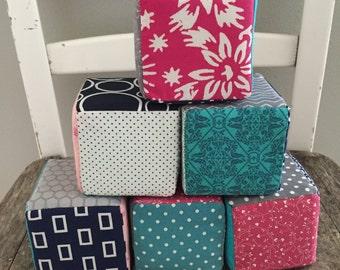 Fabric Blocks, Foam Baby Blocks, Fabric Foam Blocks, Baby Girl Blocks, Gift Idea, Baby Gift Idea, Baby Shower Gift, Ready to Ship