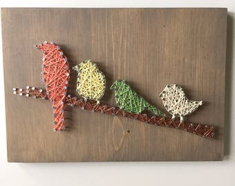String Art - Bird Art - Gift for Bird Lovers - Rustic Sign - Farmhouse Decor - Teacher Gift - Gallery Wall - Spring Decor - Gift For Her