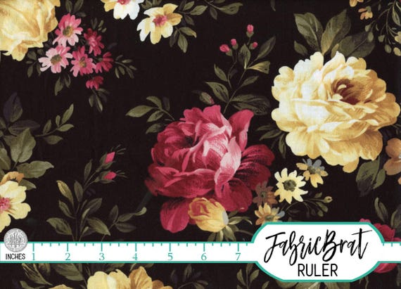 black cottage rose fabric by the yard fat quarter peony fabric rh etsystudio com black cottage rose fabric rose cottage quilt fabric