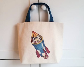 Rocket ship tote,Child's space tote bag,Spaceship carry along bag,Boy's space birthday party