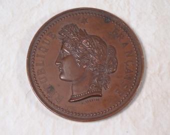 Turn-of-the Century Copper Republique Francais Medallion Paris Flea Market Find