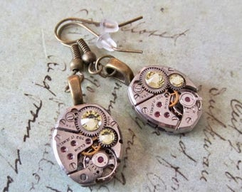 Citrine  - Steampunk Earrings - Repurposed art
