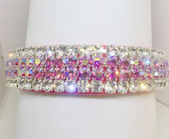"Bling Wide 1"" Pink Velvet ~Aurora Glow~ Crystal Rhinestone Dog Pet Collar + Free Paw Charm USA"