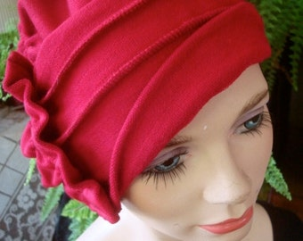 Red chemo hat womens hat ooh lala hat cloche  merino headcover chemo gift winter raspberry red