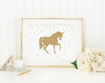 Unicorn Printable Nursery Unicorn Decor Unicorn Wall Art Magical Nursery Decor Unicorn Print Gold Glitter Girl Nursery Decor Gold Nursery