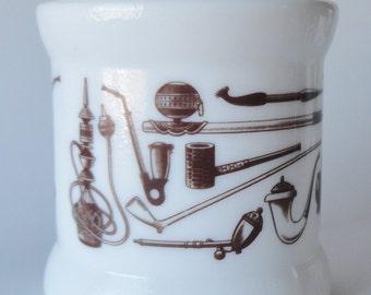 1 Vintage Milk Glass Humidor Pipe Tobacco Holder Jar Crock Canister - Pipe Hookah Tobacco Illustrations - Man Cave, Smoker Gift, Crock Vase