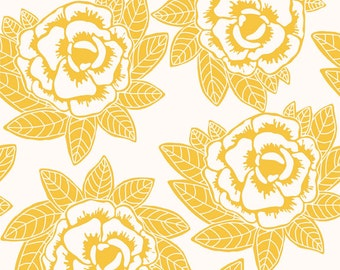 Rose Fabric -  Indie Main Yellow from the Indie Chic Collection by My Minds Eye for RIley Blake C3240 Yellow - EOB 18-inch
