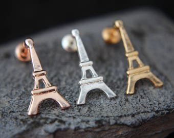 Eiffel earrings in silver, gold, rose pink