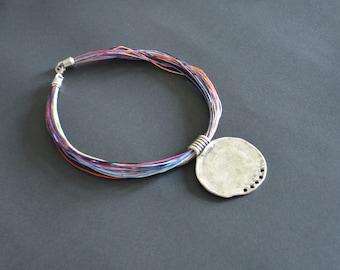 women short necklace-vintage pendent-colorful cotton cord necklace-colorful necklace-ancient silver pendent-short necklace-adjustabel