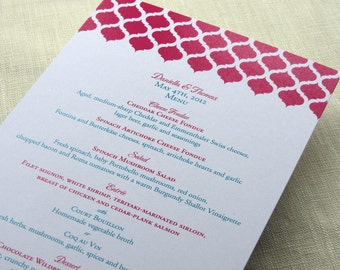 Indian Dinner Menu - Arch Print Reception - Wedding Shower Birthday Anniversary Party