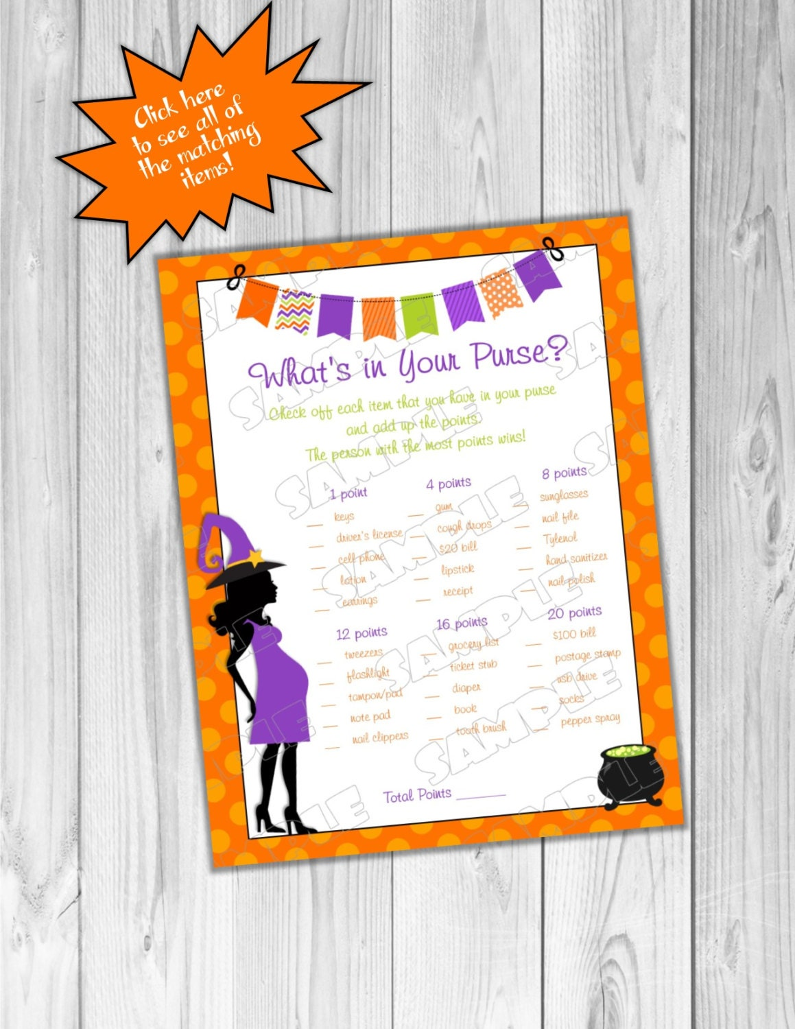 Halloween Baby shower games what\'s in your purse game