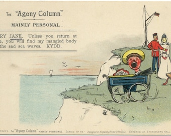 Baby in Pram on Cliffs 'Agony Column' Mainly Personal Antique 1903 Post Card