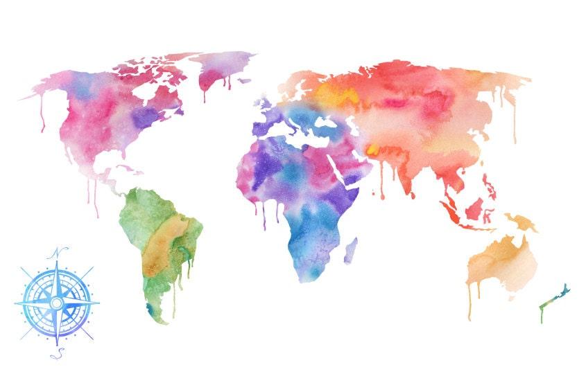 Watercolor World Map Art Print Magenta Pink & Purple Painting