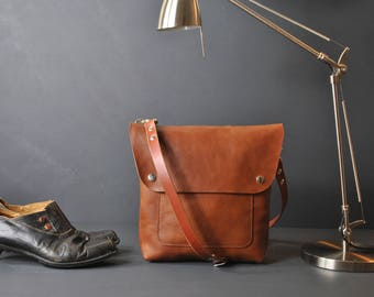 Italian Leather Crossbody bag, Whisky Everyday bag, Small Messenger Bag, Women's Crossbody Bag, Leather Handbag, Leather Purse, Leather Bag
