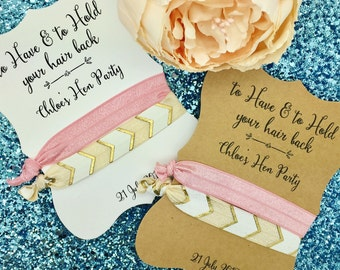 "Hair Tie Bridesmaid / Hen Party Favour Gift Tags ""Thank you"" Rustic"