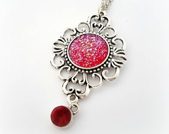 Red druzy pendant, long gothic necklace, vampire candy jewelry