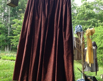 Pioneer Long Skirt -Chocolate Brown with a Mahogny Print Cotton Fabric - Adult