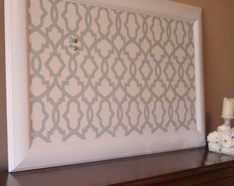 """Framed Bulletin Board, Fabric Pin Board, Large Bulletin Board, 42""""x24""""  Decorative Bulletin board, Framed Cork Board, Fabric Cork Board"""