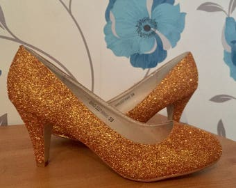 Gold Heels - Court shoes - Midas Touch - Bridal Shoes - Bridesmaid - Wedding - Prom - Customised Shoes - Glitter Shoes - UK Size 3-8