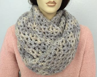 Women Croshet Infinity Scarf Women Knit Cowl Chunky Cowl Women Winter Accessories Christmas Gift under 50