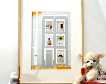 Little Brownstone Home is Where the Heart Is - Baby's First Year modern nursery art print & photo mat - 13x19 orange gray children decor