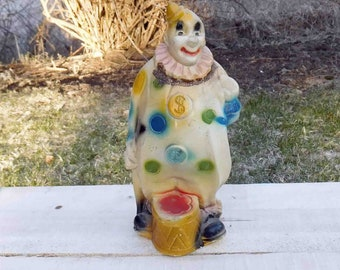 Vintage Carnival Chalkware Clown Bank,Collectible, Unused,1940s