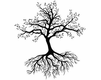 Tree #1 Life Roots Exposed Family Grow Growth Growing Flower Buds Nature Agriculture.SVG .EPS .PNG Digital Clipart Vector Cricut Cut Cutting