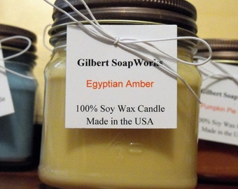 Soy Egyptian Amber Candle // hand poured // all natural // gifts for her // wedding gifts // scented //home sweet home //organic