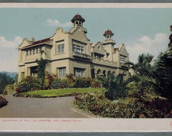 Antique Paul De Longpre Residence Hollywood Calif Undivided Back Postcard