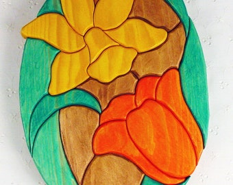 Handcrafted Wooden Intarsia Daffodil Tulip Flower Wall Art